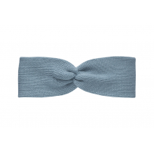 Вязаная повязка серо-голубая