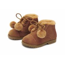Ботинки ZOEY POMPON коричневые