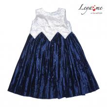 Платье с серебристым лифом и плиссированной юбкой из бархата