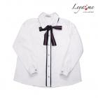 Блузка белая с контрастной планкой и бантом