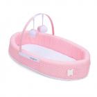 Классическая переносная колыбель с капюшоном и подвесными игрушками (розовая)