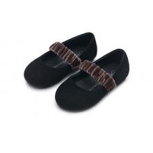 Туфли ANNA черные с коричневым ремешком