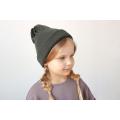 Хлопковая шапка темный хаки