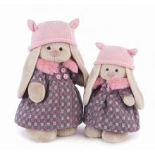 Мягкая игрушка Зайка Ми в пальто и розовой шапке (большая)