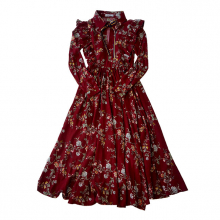 Платье бордовое детское с цветочным принтом