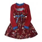 """Платье бордовое на девочку  комбинированное  с цветочным принтом """"Monsters garden"""""""