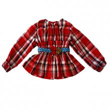 Блузка детская в красную клетку