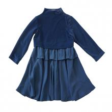 Платье голубое на девочку из двух видов ткани