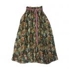 Юбка черная детская с цветочным принтом и плетеным поясом