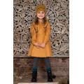 Платье на девочку горчично-желтое двубортное с воланами на лифе