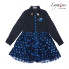 Платье рубашка черное с юбкой из синих пайеток на сетке
