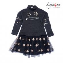 Платье черное с люрексом, молниями и юбкой из сетки