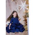 Платье- бабочка синее с воланами
