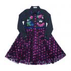 Платье-рубашка с юбкой из ярко- розовых пайеток