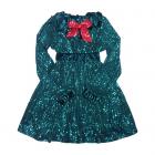 Платье из зеленых пайеток на бархате с красным бантом.