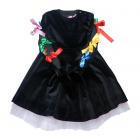 Платье из черного бархата с декором на спине