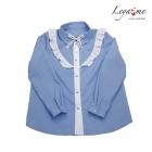 Блузка голубая с белым воланом