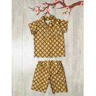 Пижама Юката коричневая с узором