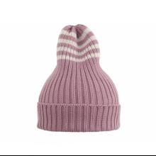 Полосатая шапка розовая