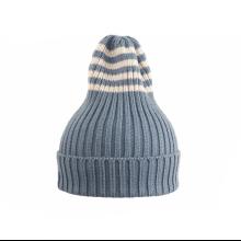 Полосатая шапка голубая