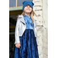 Комбинированное платье из принтованной вискозы со звездами и плиссированного бархата