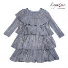 Платье- трапеция  серебристо - серое  с оборками