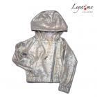 Трикотажная  золотая  куртка-косуха с капюшоном
