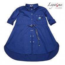 Рубашка - туника синяя с нашивками и кулиской