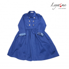 Платье синее с отлетной кокеткой и двубортной застежкой